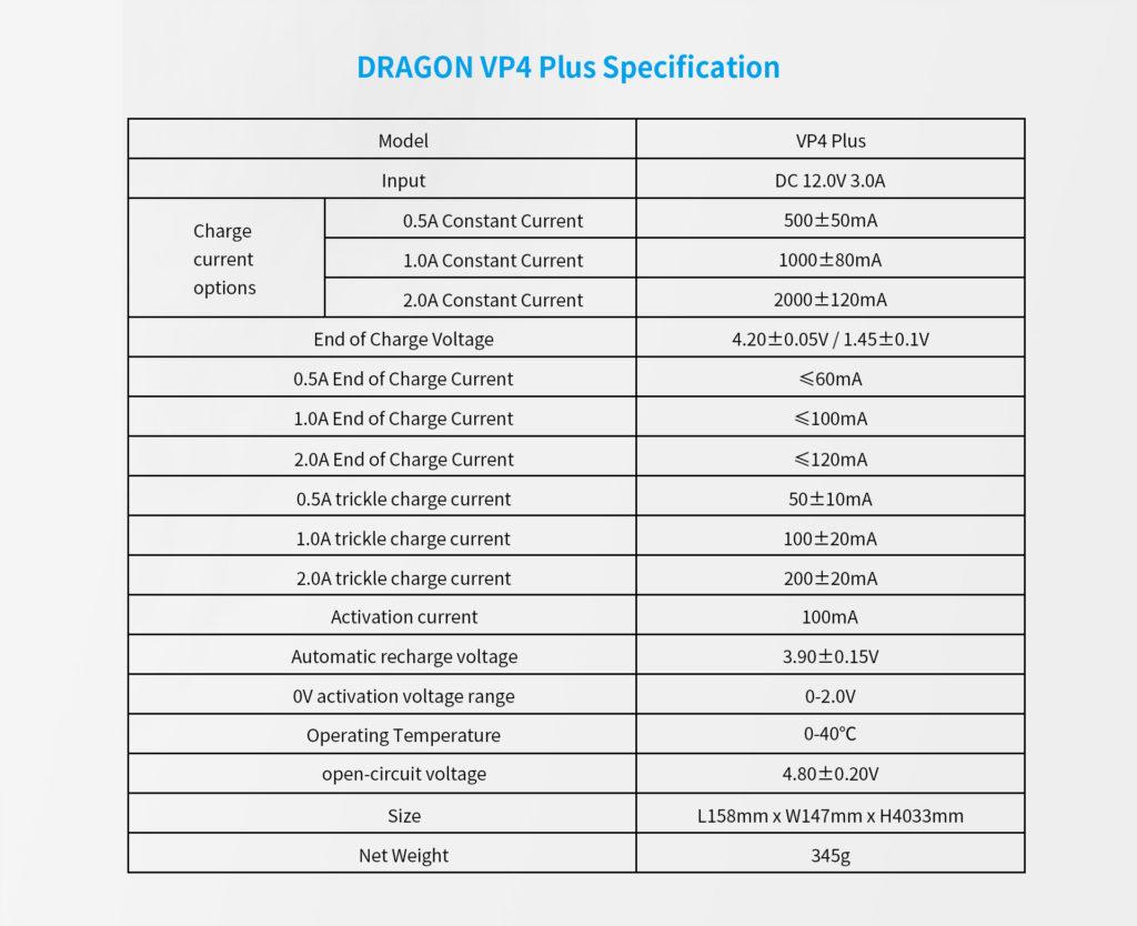 Xtar VP4+ dragon tekniset tiedot