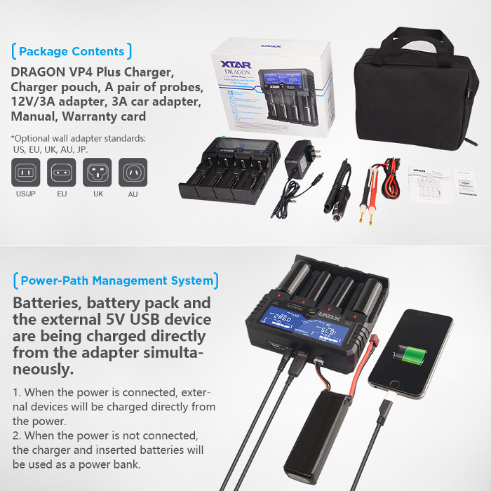 Xtar VP4 Plus Dragon 4.0A Charger for Li Ion and Li Po batteries and rechargeable batteries