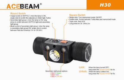 Acebeam H30 tehokas otsalamppu ladattavalla akulla