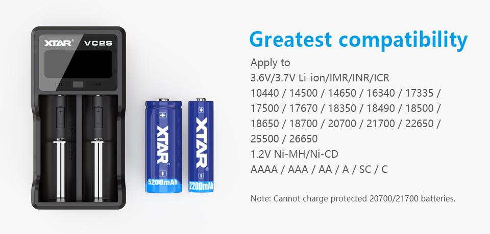 Xtar VC2S akkutyypit monitoimilaturi